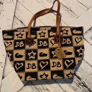 Donkey & Bourke black/tan stars heart shoulder bag